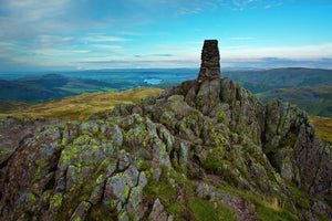 England, Cumbria, Lake District National Park. Trig point above Place Fell on Patterdale Common in the North-Eastern Lake District near Ullswater.