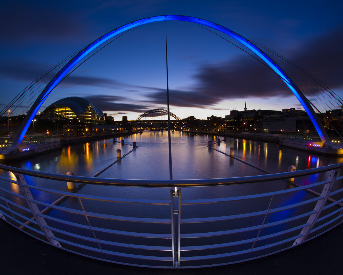 "The Gateshead Millennium Bridge, Newcastle Upon Tyne, Tyne & Wear - 8"" x 10"" Mounted Photography Print"