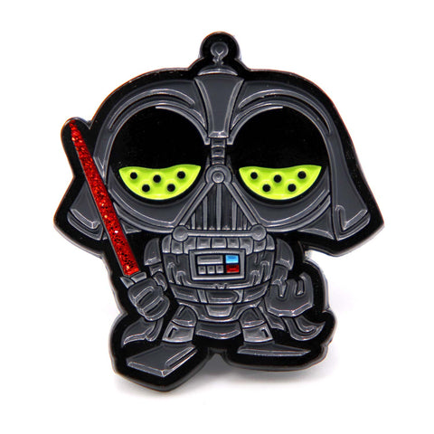 Darth Mojo enamel pin by Casual Mojo, front view.