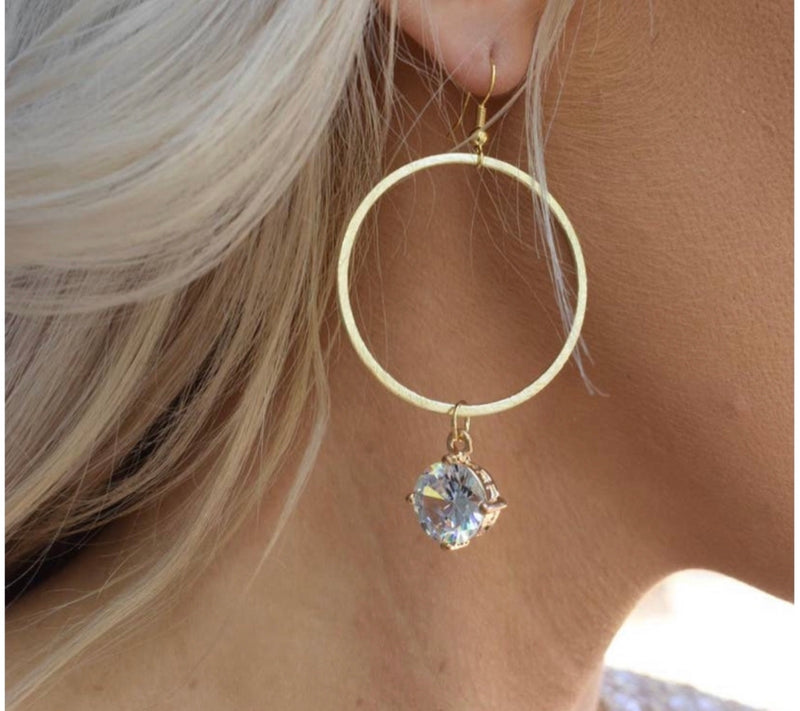 Goldie Gold Hoops with Rhinestone