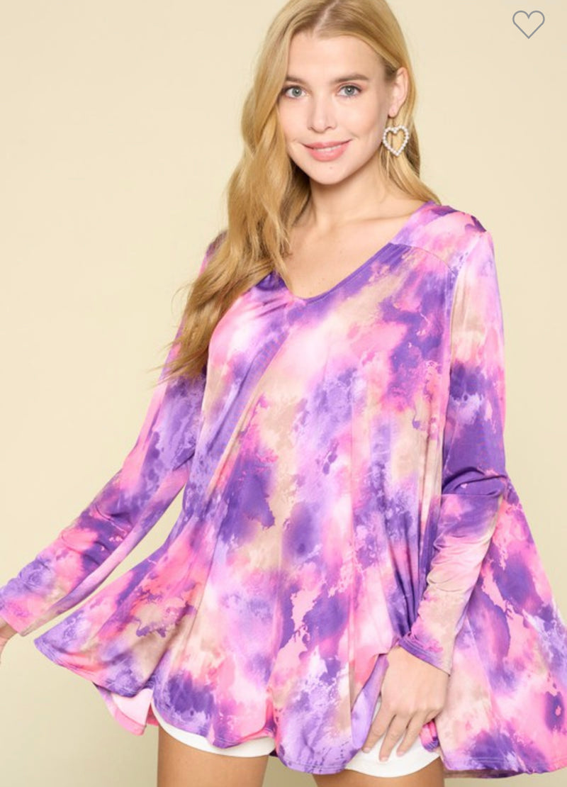 Sunburst Tie Dye Tunic Purple