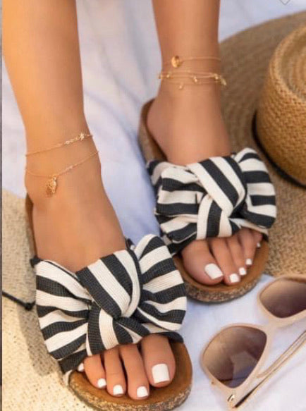 Stripe Bow Sandals