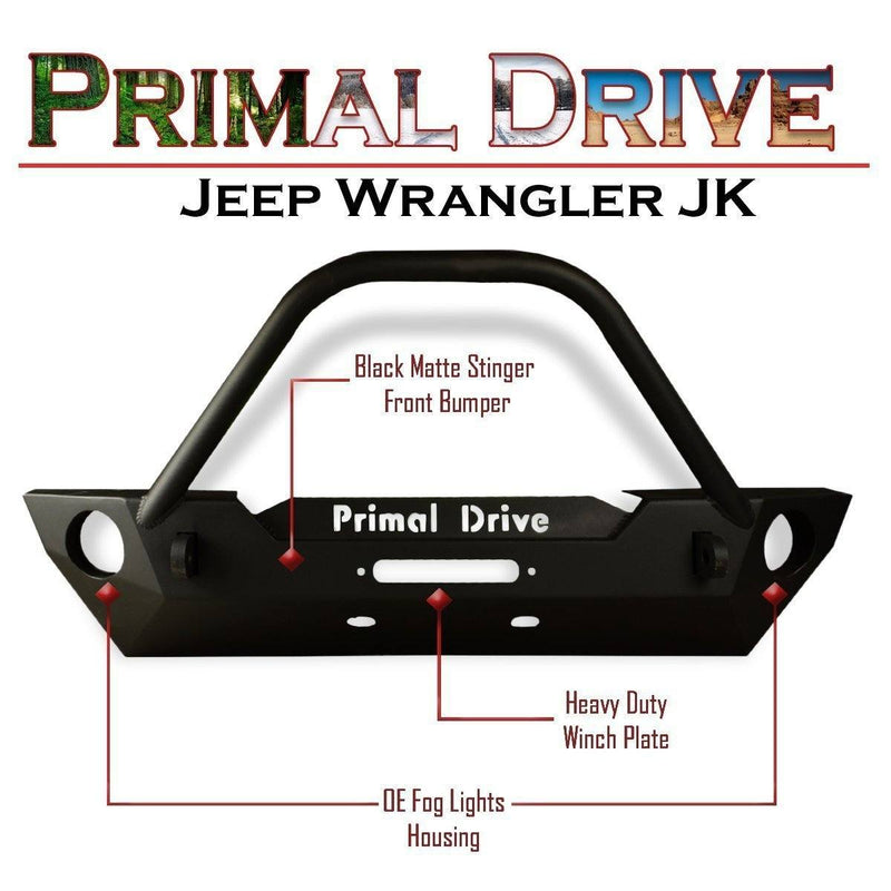 Jeep Wrangler JK Front Bumper - Black Stinger with OE Fog Lights Housing and Heavy Duty Winch Plate