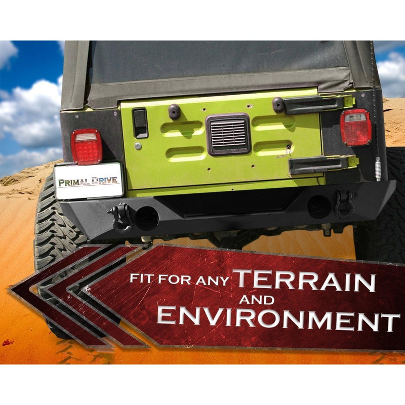 Jeep Wrangler JK Rear Bumper - Rock Crawler OE Design with D-Ring Mounts and Fast Installation