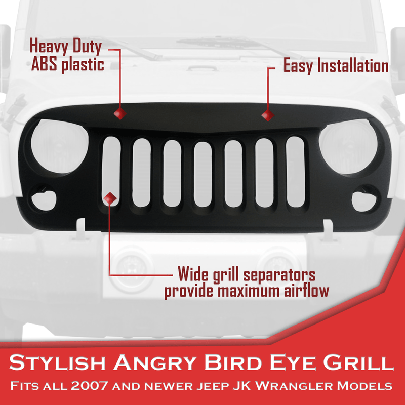 Jeep Wrangler JK Grill - Angry Eye Design for Wrangler 2007 & Newer - Matte Black