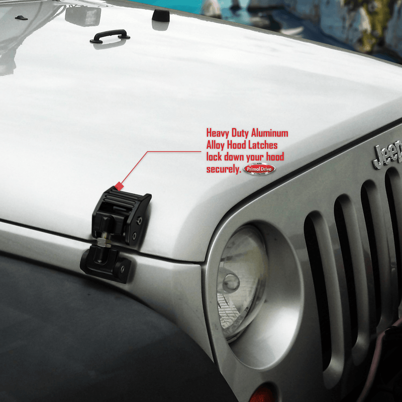 Jeep Wrangler JK Hood Catch Kit - 2 Aluminum Alloy Black Hood Catches