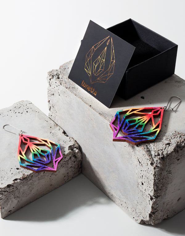 Pride Diamond vulva - wooden earrings