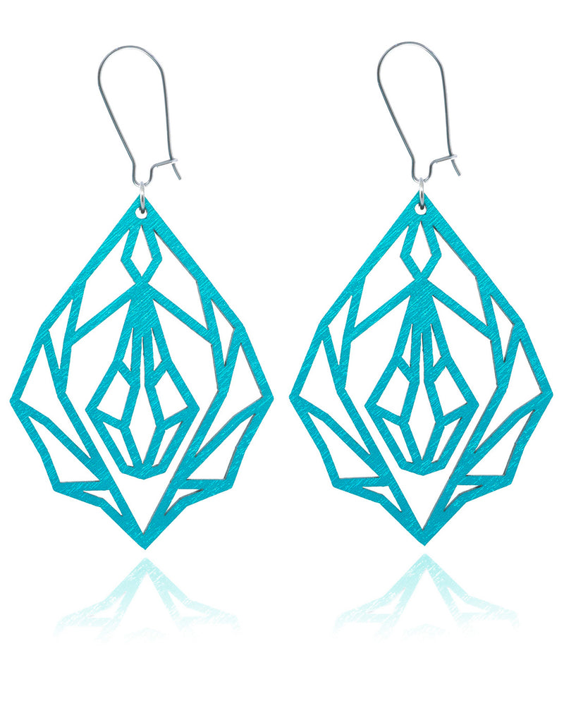Turquoise Diamond vulva - wooden earrings
