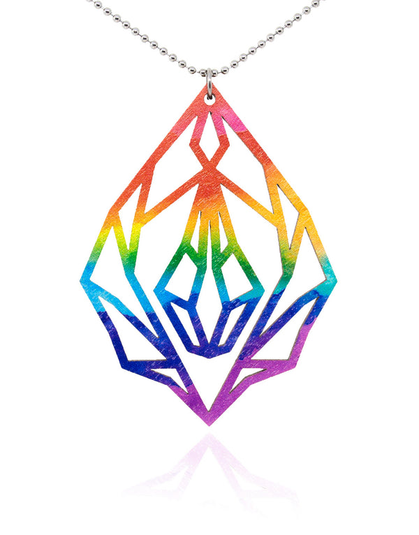 Pride Diamond vulva - wooden necklace