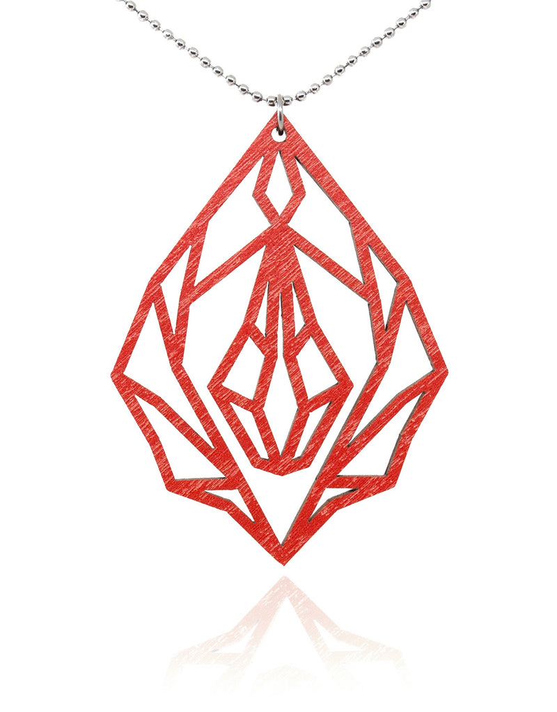 Red Diamond vulva - wooden necklace