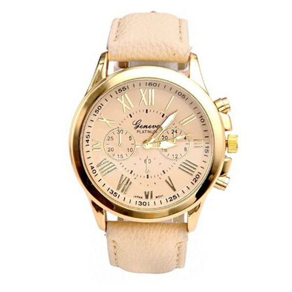 Women's Watch  with Leather Band. Roman Numerals, Big Dial, Analog Quartz Wrist Watch