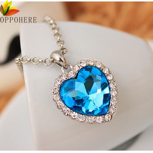 Classic Crystal Heart Pendant Necklace,