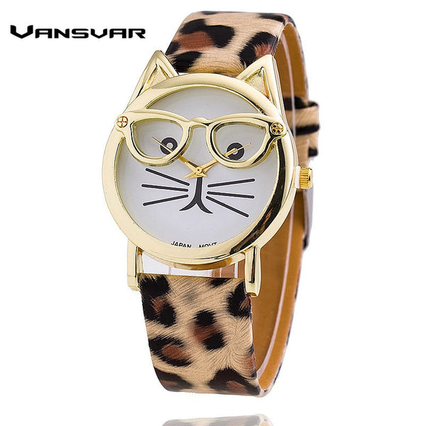 Ladies Quartz Cat Watch with Glasses, Leather Strap .