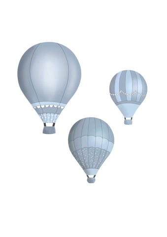 Hot Air Balloons - Steel Blue Set