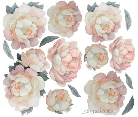 Peony Wall Stickers  - Pink