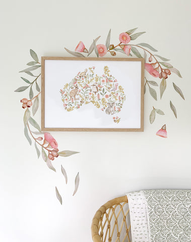 Flowering Gum Tree Wall Stickers - Pink