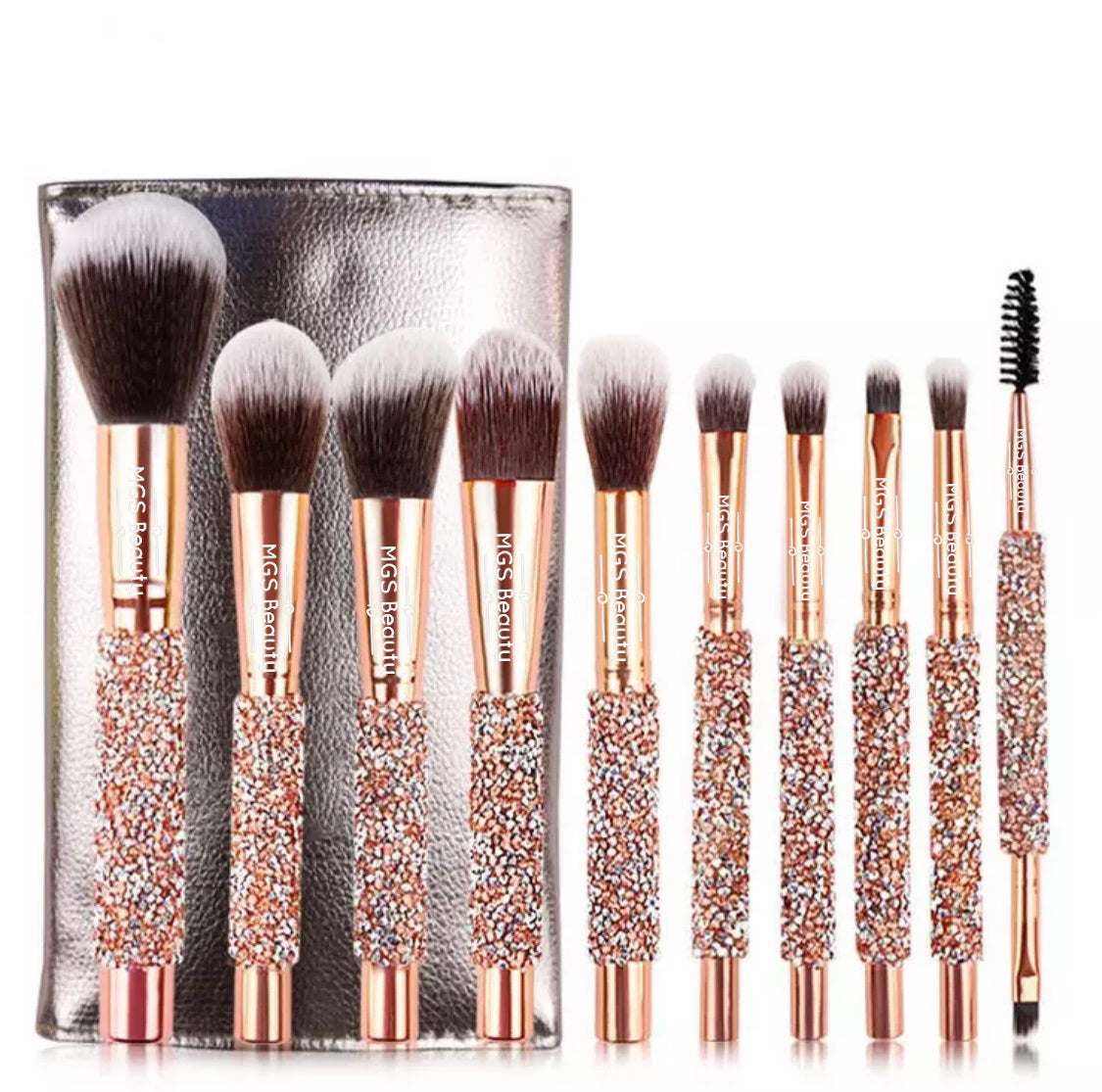 10 Pieces Rose Gold Diamond Brush Set With Storage Bag