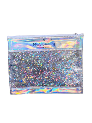 Star Glitter Top Zip Makeup Bag