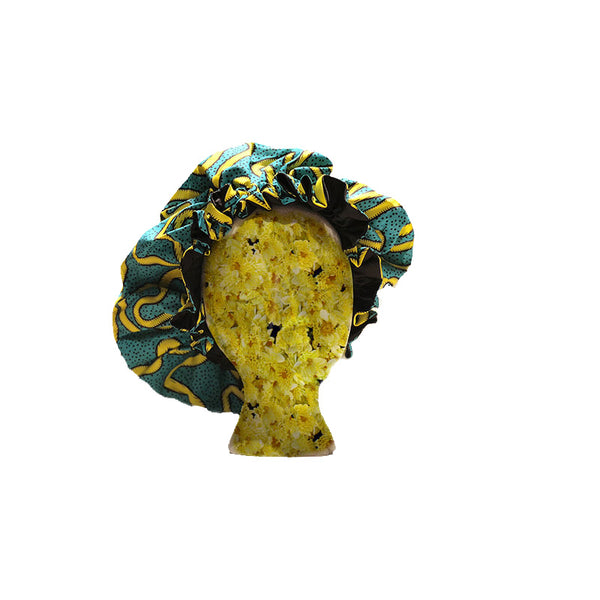 Extra Jumbo Satin Lined Ankara Bonnet - Accessories by Deke Johnson
