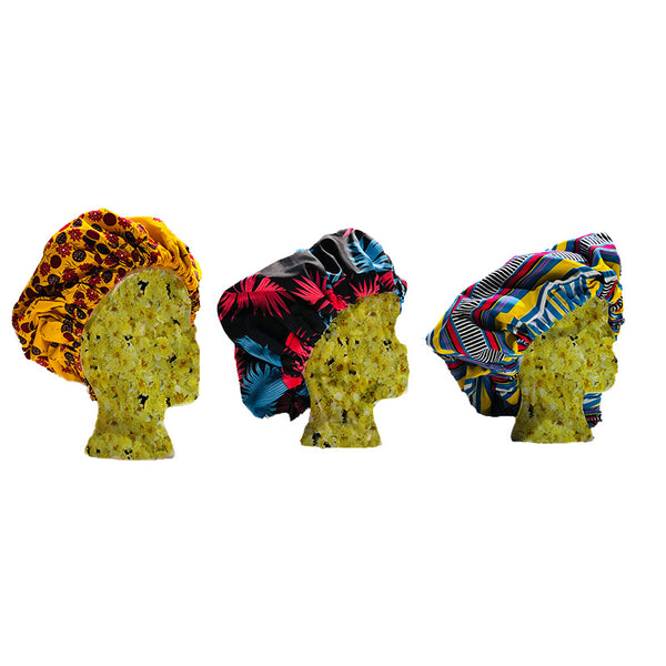 Jumbo Satin Lined Ankara Bonnets - Pattern Perfect