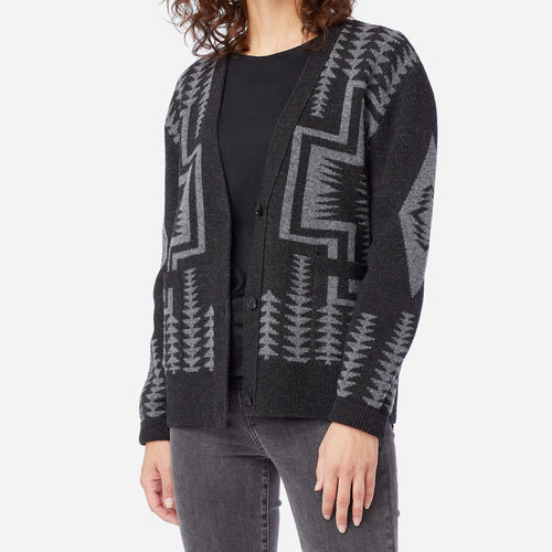 Harding Lambswool Cardigan - Black / Grey