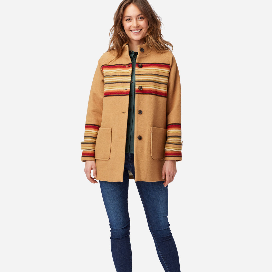 PRE ORDER Jacquard Stripe Coat - Sunset