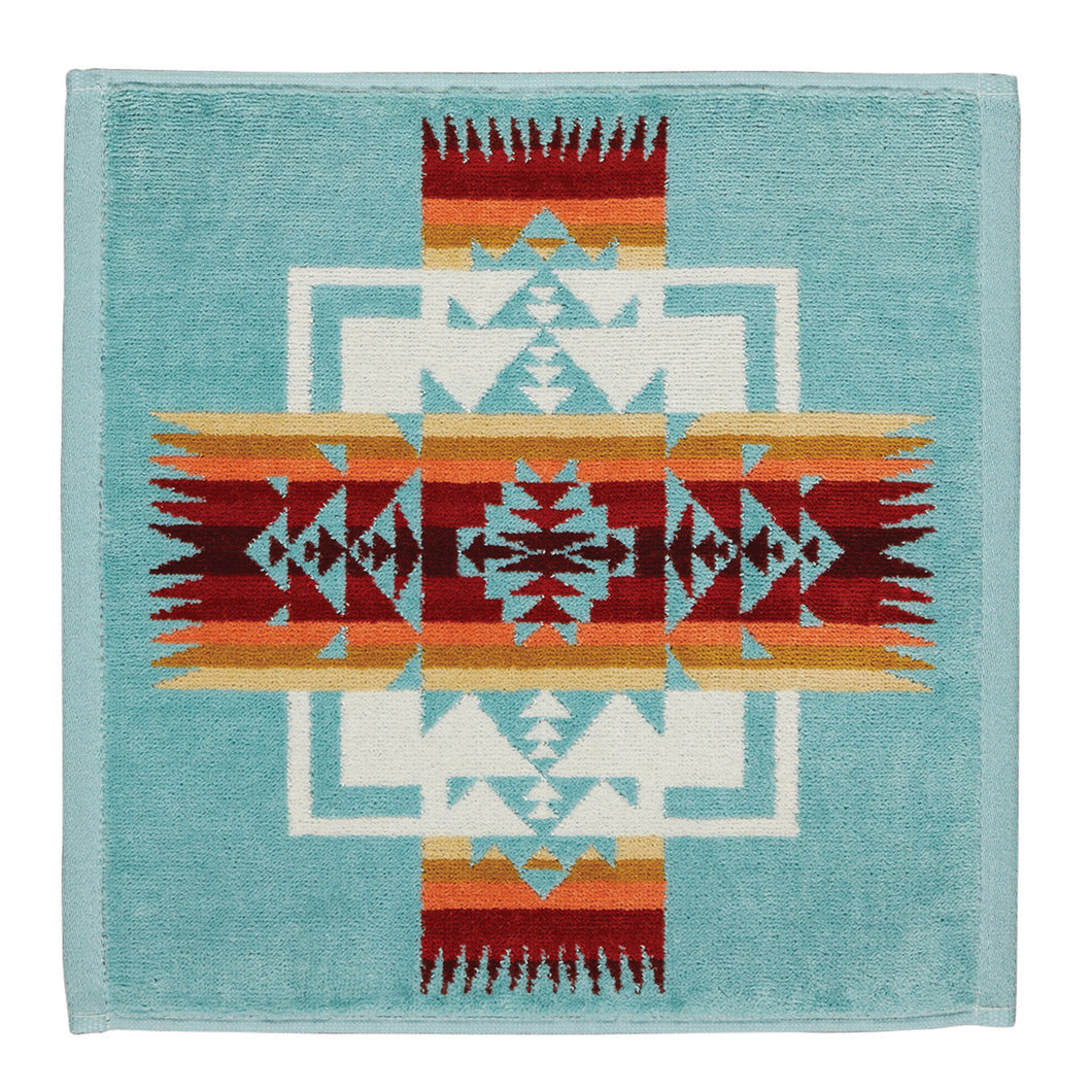 Jacquard Wash Cloth - Chief Joseph Aqua