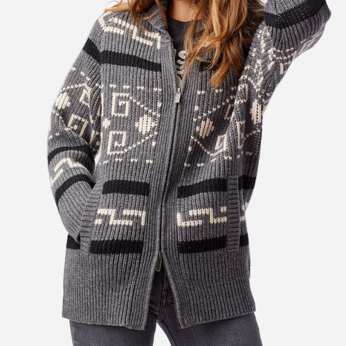 Long Westerley Cardigan- Grey / Black