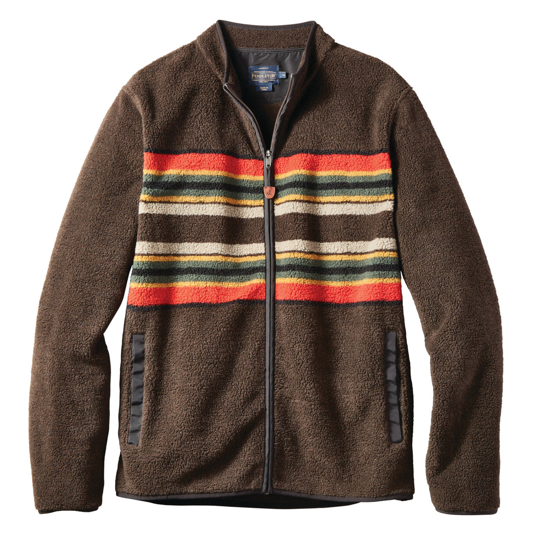 Camp Stripe Fleeced Jacket - Brown Stripe