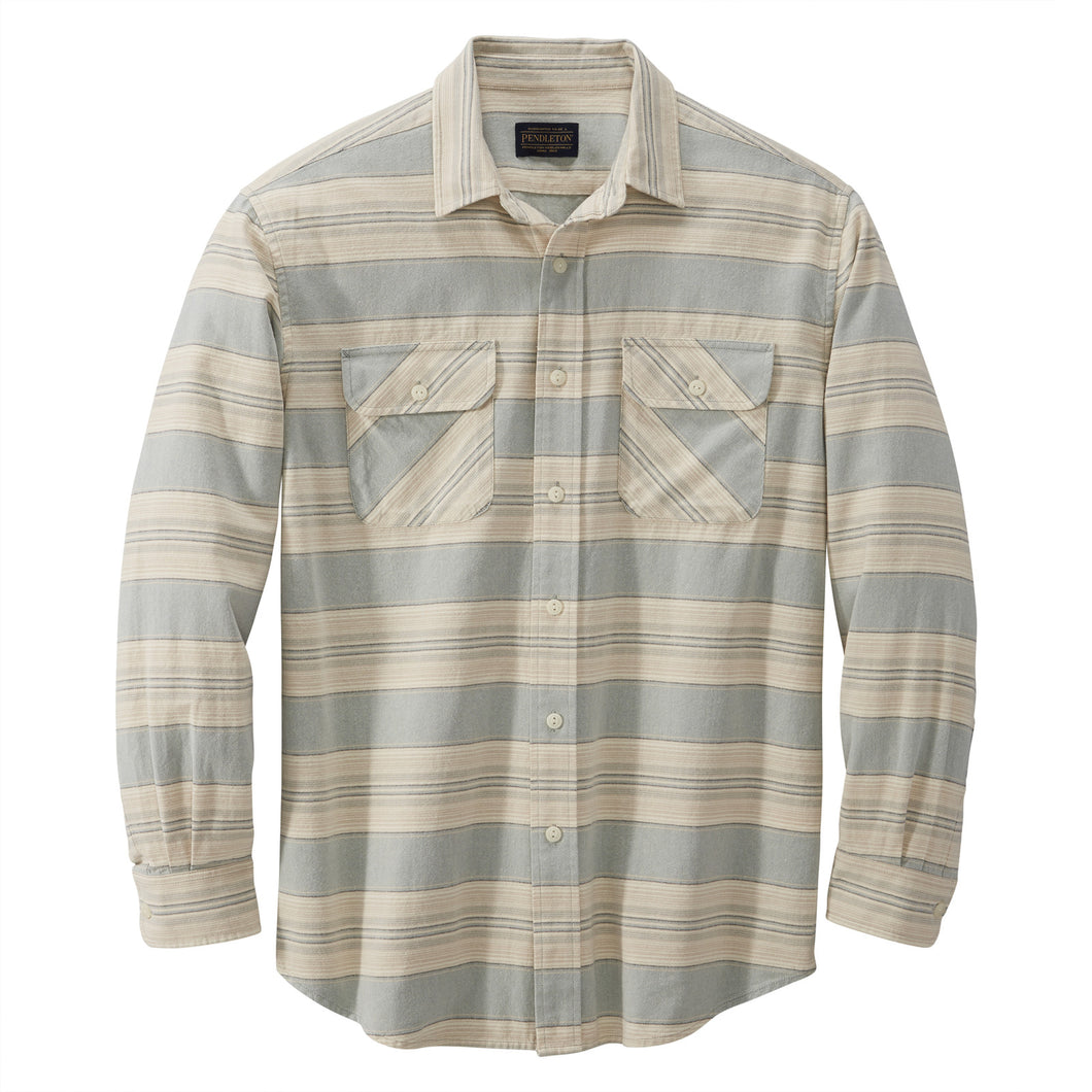 Beach Shack Shirt - Blue / Green / Tan Stripe