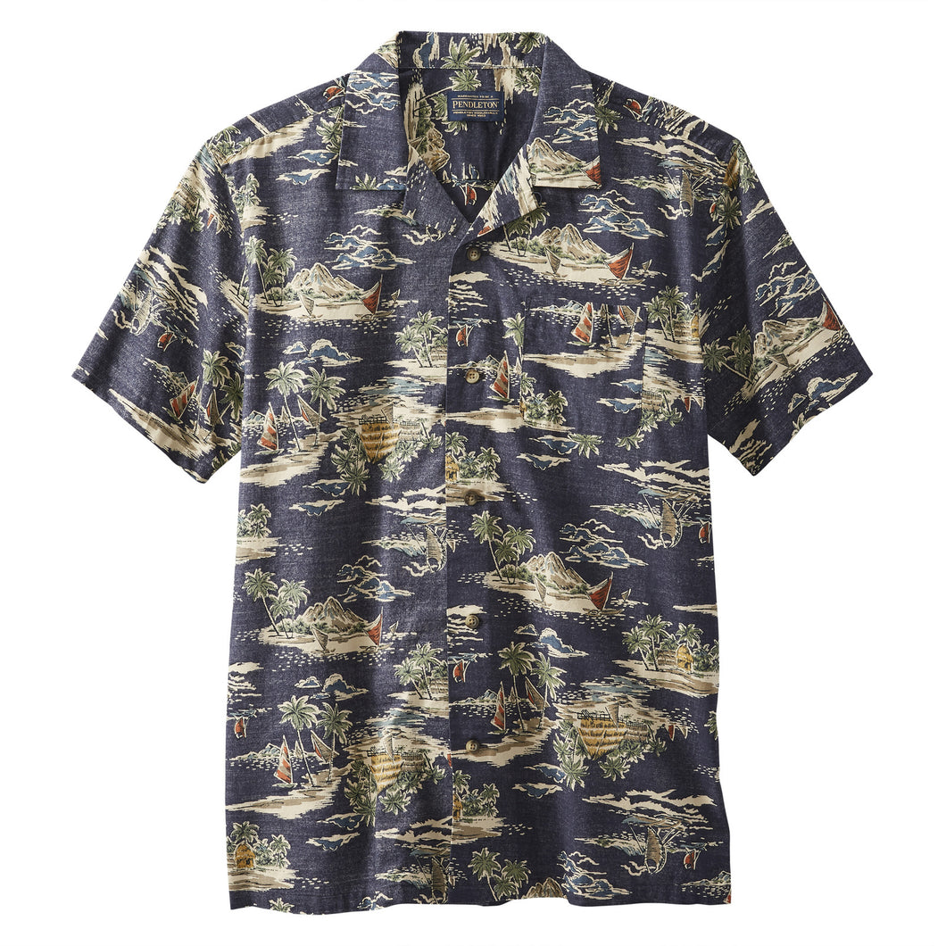 SS Aloha Shirt - Navy Tropical Village