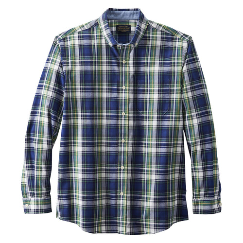 Long Sleeve Madras Shirt - Navy / Green / Plaid Plaid