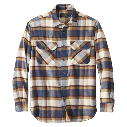 Pendleton Burnside Flannel Shirt - Blue/Henna/Cream Plaid