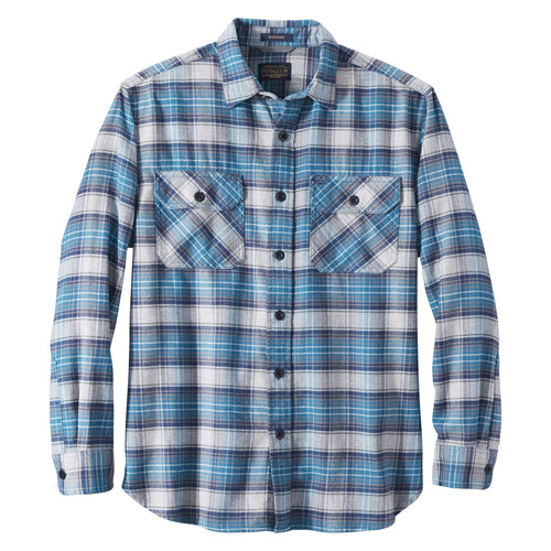 Burnside Flannel Shirt - Turquoise/Navy/Grey Plaid