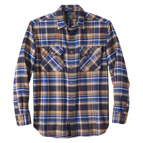 Burnside Flannel Shirt - Navy/Blue/Red Plaid