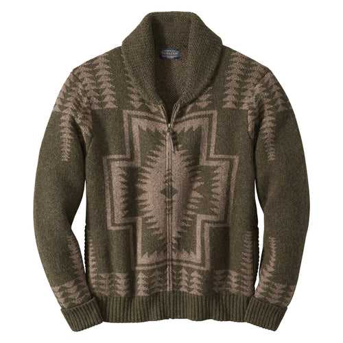 Harding Zip Cardigan - Green/Brown