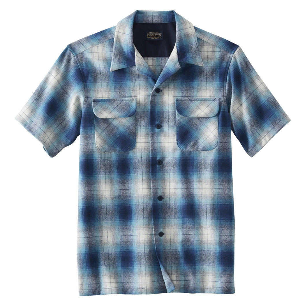 Short Sleeve Board Shirt - Blue/Navy Ombre Plaid