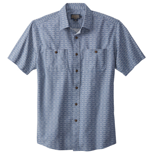 Short Sleeve Print Chambray Shirt
