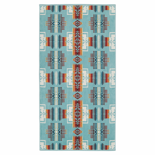 Jacquard Bath Towel - Chief Joseph Aqua
