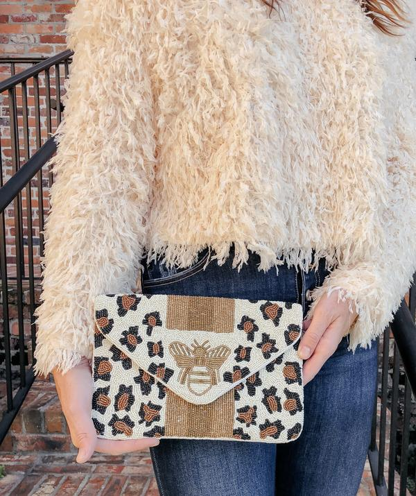 Leopard Beaded Bee Bag