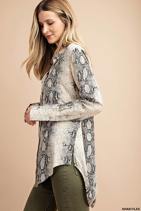 Taupe Snakeskin Button Down