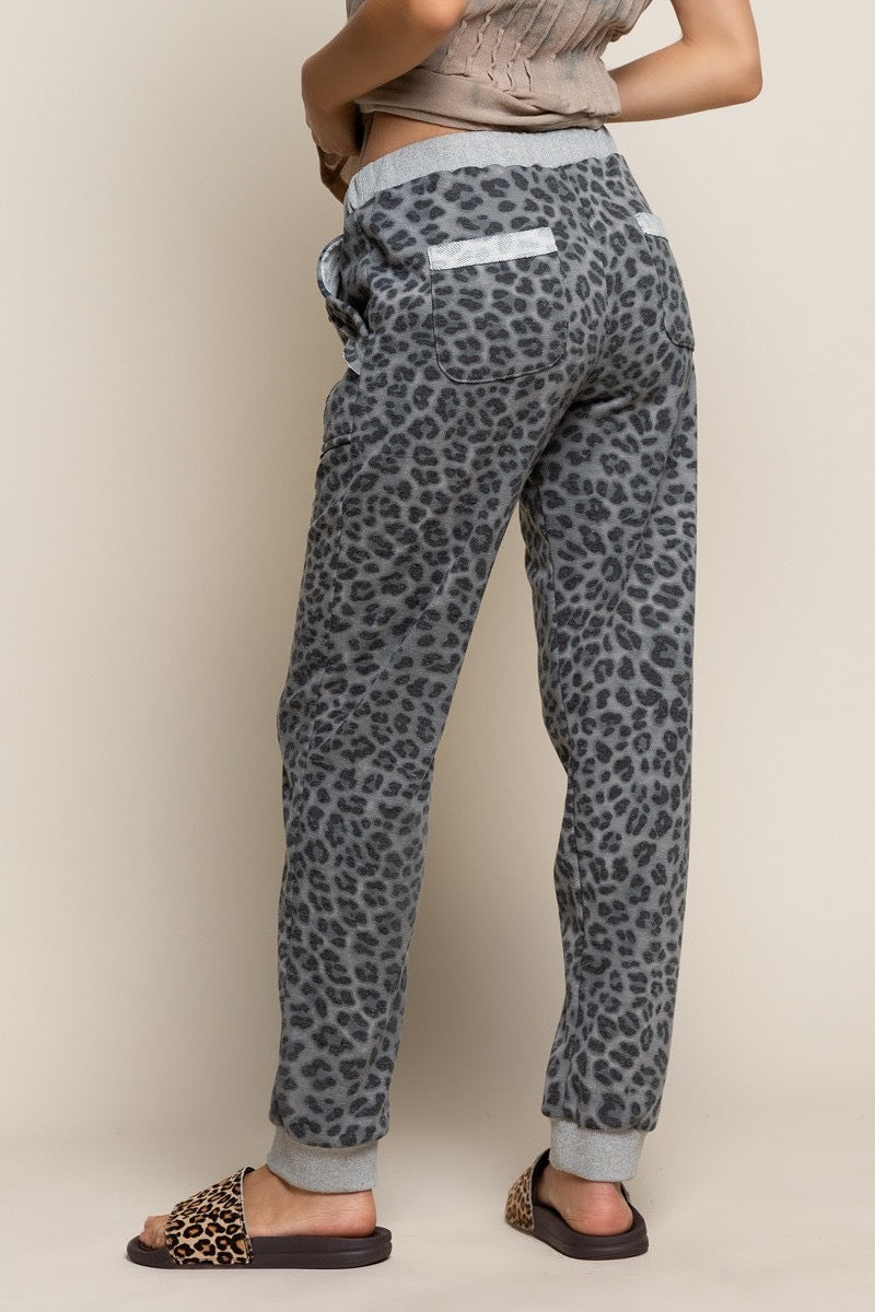 Grey Leopard Print Lounge Pants