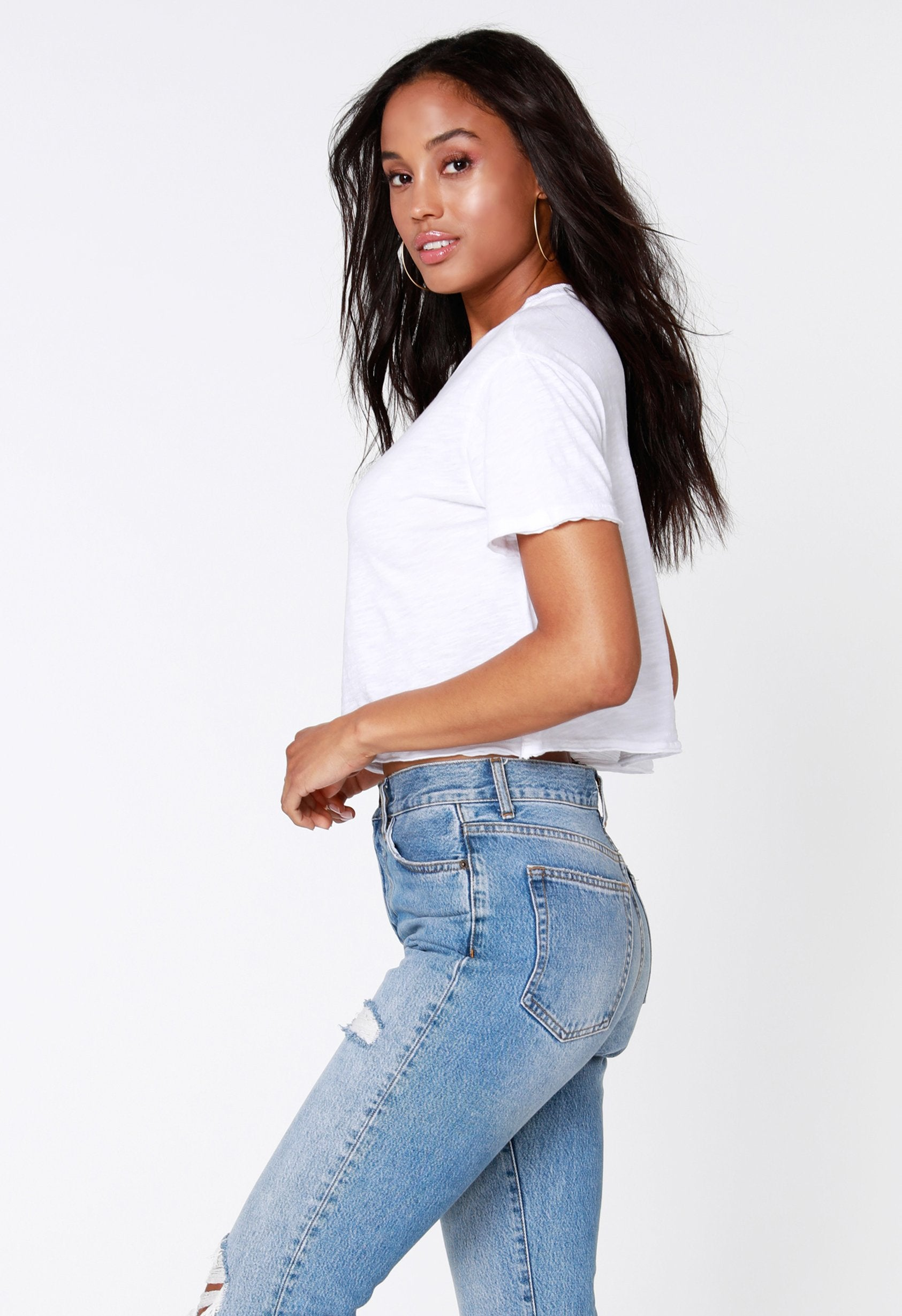 Cropped White Tee