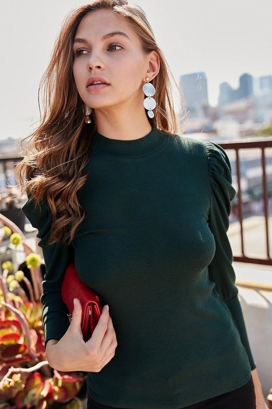 Mock Turtleneck Bubble Long Sleeve Top