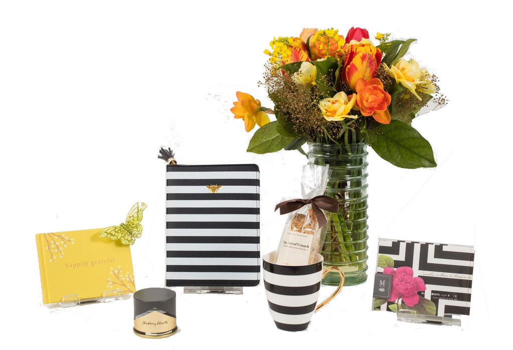 Black and white stripe gift basket components