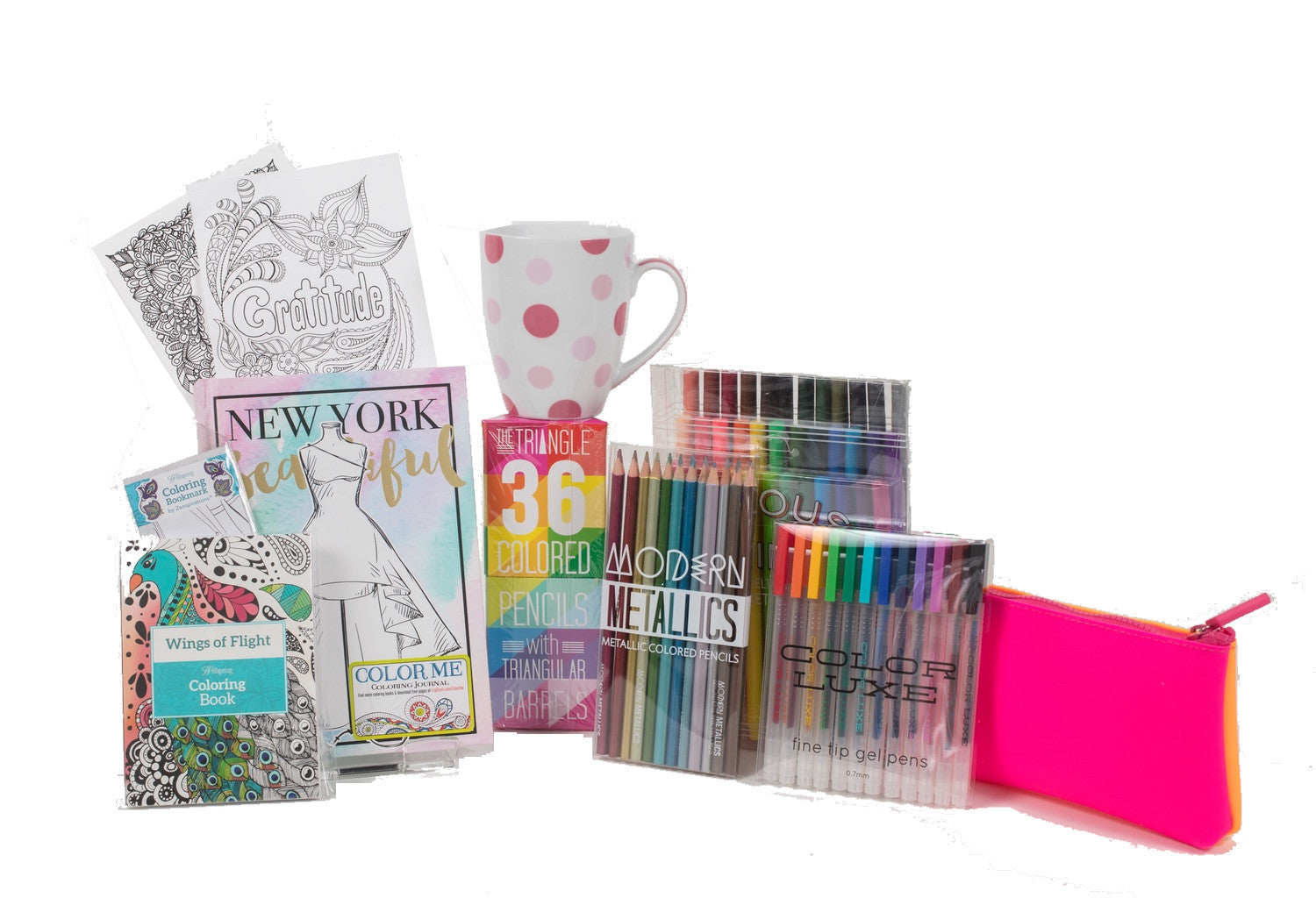 fashion gift for girls and women with cup tea coloring book set