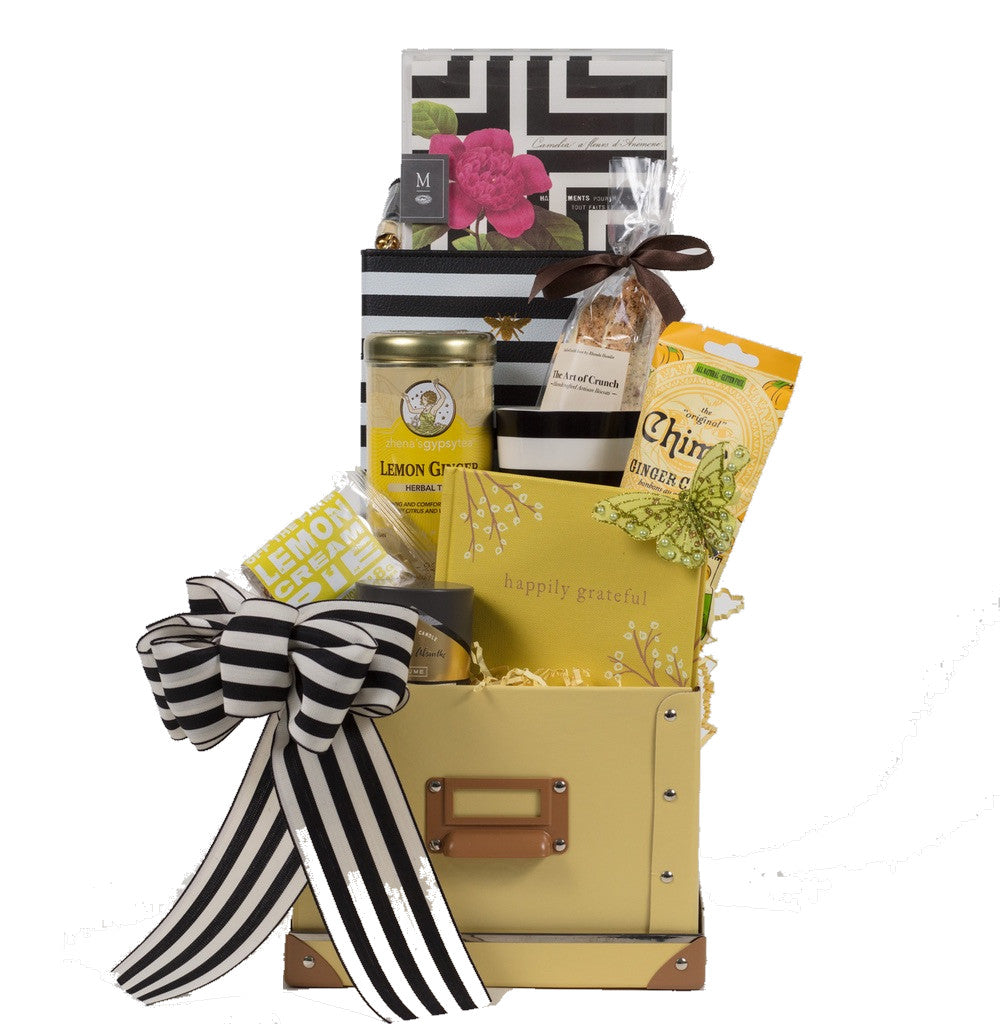 Black and white stripe gift basket and organizer