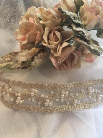 Beaded Headband - Cream & Pearl
