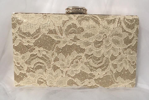 Rose Lace Clutch - Cream on Gold