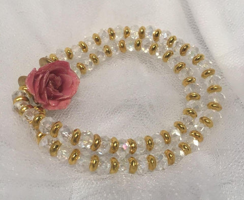 Preserved Mini Rose Double Wrap Bracelet - Clear & Gold
